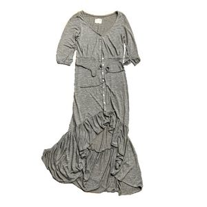Mia Joy joyfolie Gray button up ruffle hem dress
